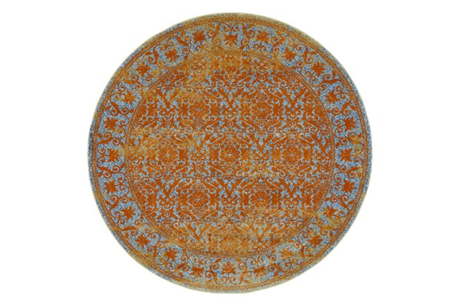 96 Inch Round Rug-Vibrant Melon And Blue Tapestry - 360