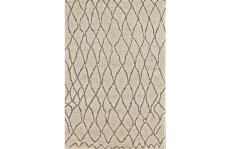 48X72 Rug-Undyed Natural Wool Organic Cross Hatch