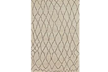 114X162 Rug-Undyed Natural Wool Organic Cross Hatch