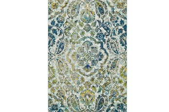 26X48 Rug-Cobalt And Yellow Large Medallion