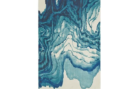 60X96 Rug-Cobalt Watercolor Tide