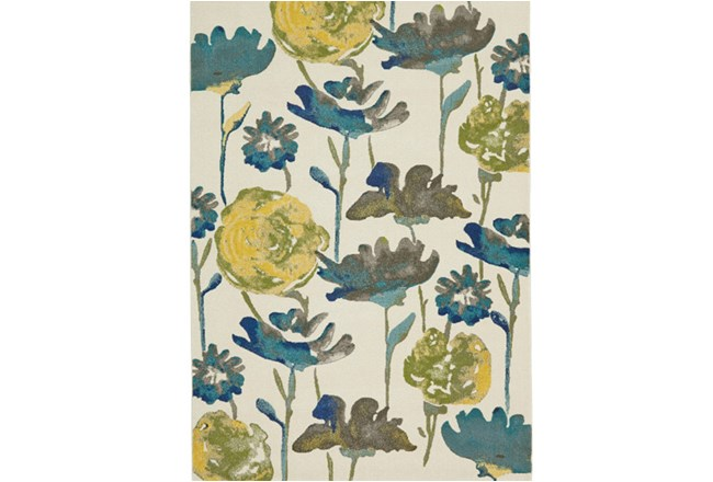 96X132 Rug-Cobalt And Yellow Floral - 360