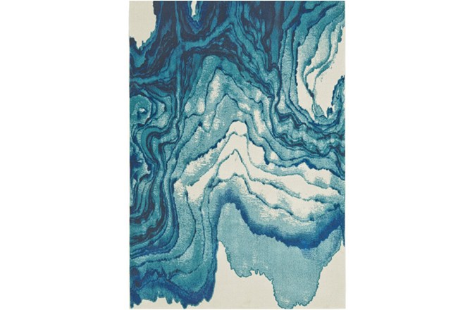 120X158 Rug-Cobalt Watercolor Tide - 360