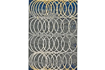 120X158 Rug-Cobalt And Yellow Faded Rings