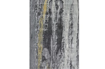 26X48 Rug-Grey And Yellow Faux Bois