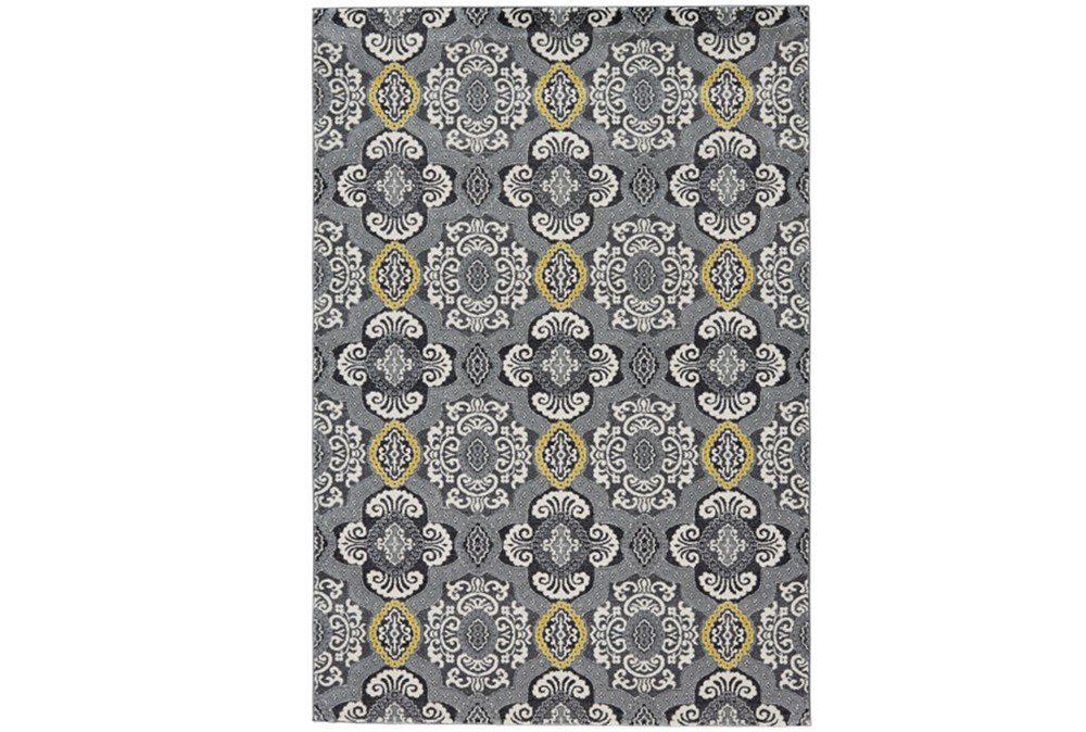 60X96 Rug-Grey And Yellow Traditional Medallions