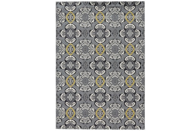60X96 Rug-Grey And Yellow Traditional Medallions - 360