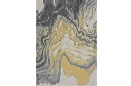 96X132 Rug-Grey And Yellow Marbled Swirl