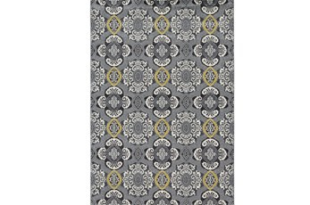 96X132 Rug-Grey And Yellow Traditional Medallions