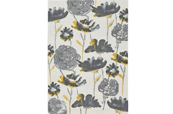 120X158 Rug-Grey And Yellow Floral