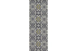 34X94 Rug-Grey And Yellow Traditional Medallions