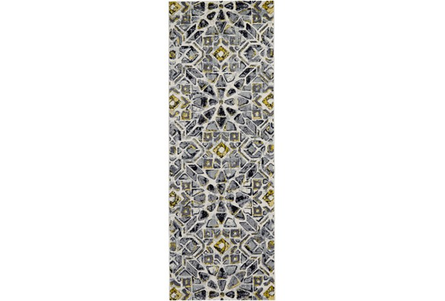 34X94 Rug-Grey And Yellow Moroccan Tile - 360