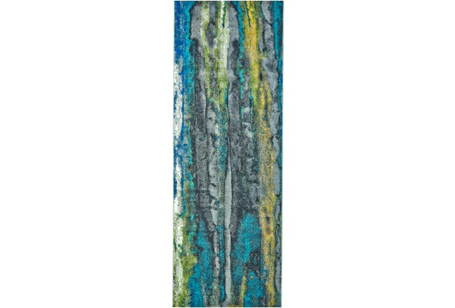 34X142 Rug-Cobalt And Yellow Faux Bois - 360