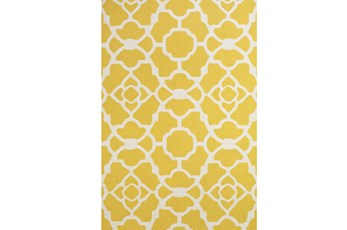 60X96 Rug-Yellow And White Garden Gate