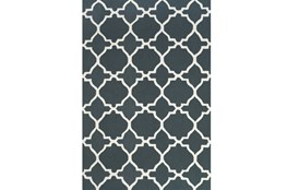 60X96 Rug-Charcoal And White Trellis