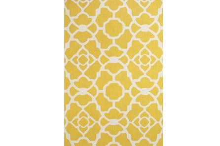 90X114 Rug-Yellow And White Garden Gate