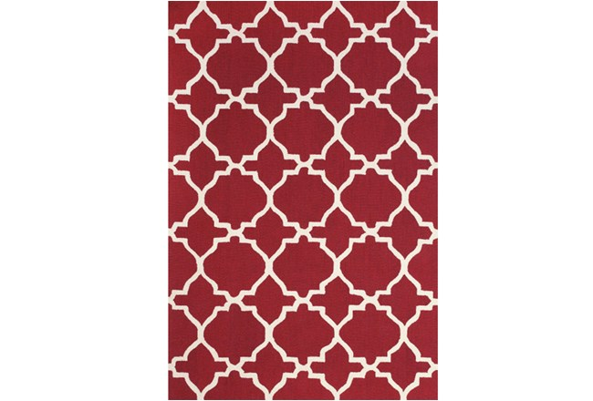 60X96 Rug-Red And White Trellis - 360