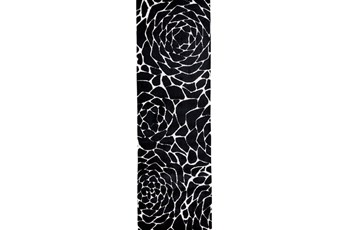 30X96 Rug-Black And White Stylized Flower