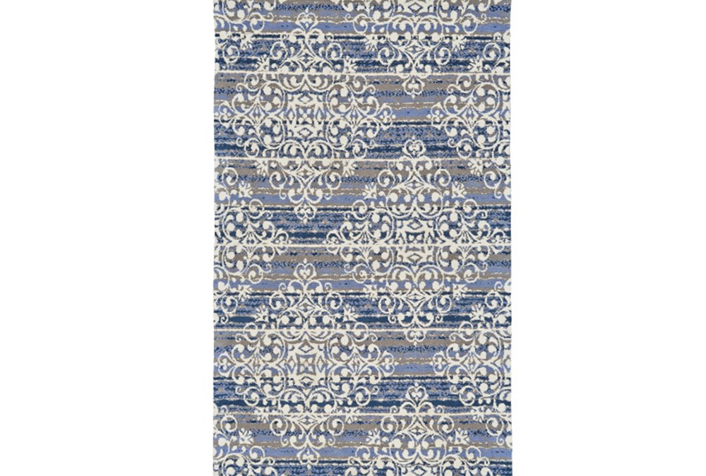 60X96 Rug-Blue And Taupe Medallion Stamp