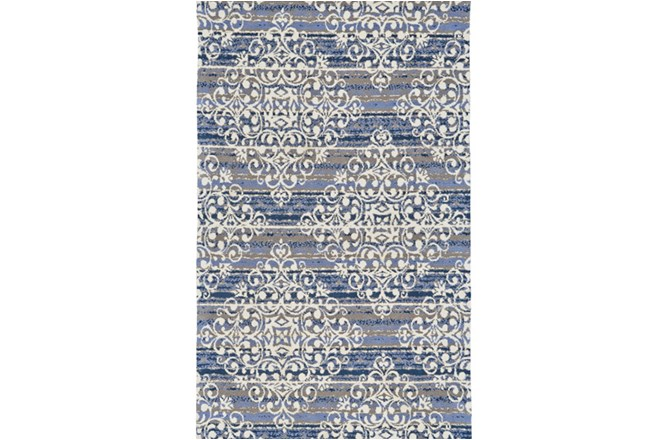 60X96 Rug-Blue And Taupe Medallion Stamp - 360