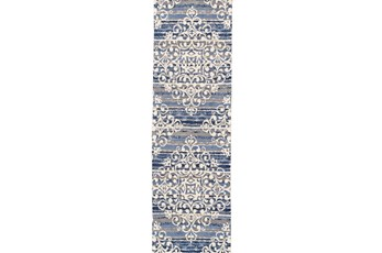 30X96 Rug-Blue And Taupe Medallion Stamp