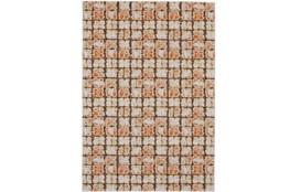 96X132 Rug-Orange And Brown Boho Cubes