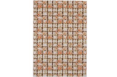 120X158 Rug-Orange And Brown Boho Cubes