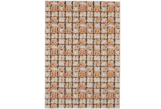 120X158 Rug-Orange And Brown Boho Cubes - 360