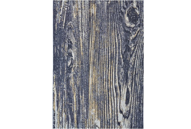 96X132 Rug-Charcoal And Yellow Faux Bois - 360