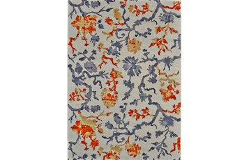 60X96 Rug-Orange And Grey Empire Floral