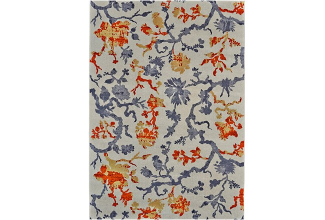 96X132 Rug-Orange And Grey Empire Floral - 360