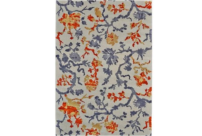 120X158 Rug-Orange And Grey Empire Floral - 360