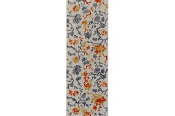 34X94 Rug-Orange And Grey Empire Floral