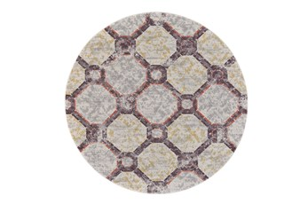 96 Inch Round Rug-Orange And Yellow Honeycomb