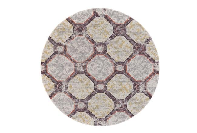 96 Inch Round Rug-Orange And Yellow Honeycomb - 360