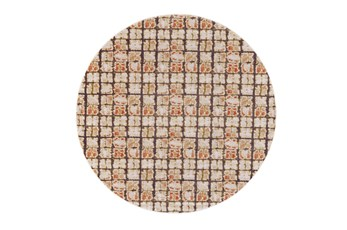 96 Inch Round Rug-Orange And Brown Boho Cubes