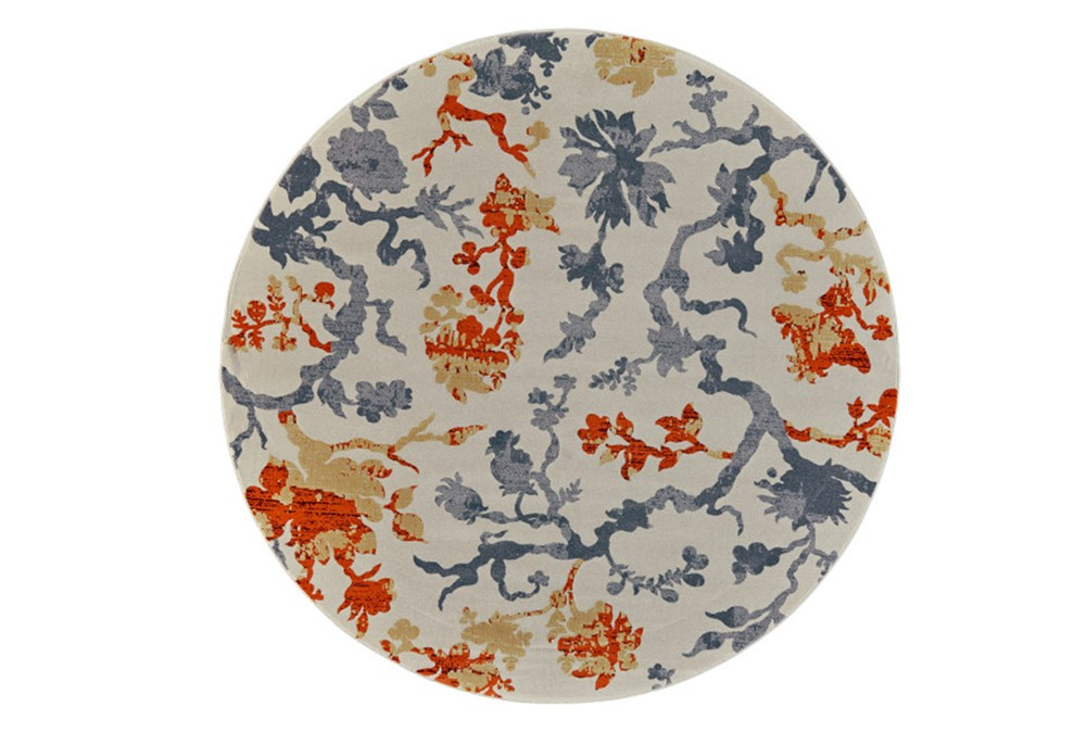 96 Inch Round Rug-Orange And Grey Empire Floral