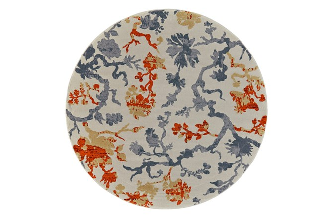 96 Inch Round Rug-Orange And Grey Empire Floral - 360
