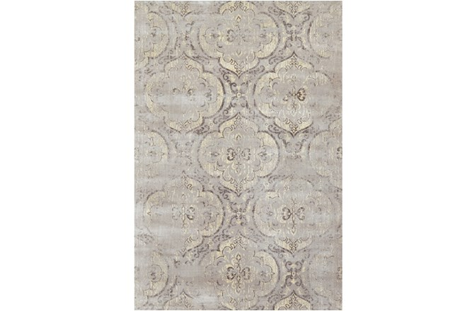 110X146 Rug-Grey And Buttercream Faded Medallions - 360
