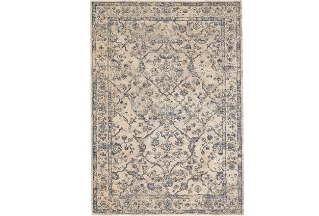110X146 Rug-Grey And Buttercream Distressed Tapestry - 360