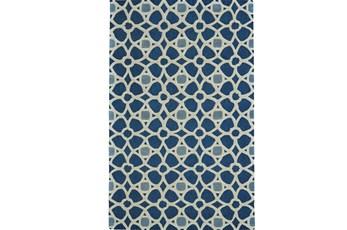 96X132 Rug-Indigo Moroccan Tile