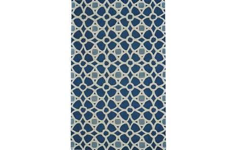 114X162 Rug-Indigo Moroccan Tile