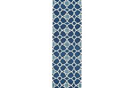30X96 Rug-Indigo Moroccan Tile
