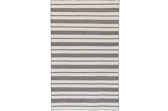 60X96 Rug-Recycled Pet Black Pin Stripes