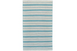 96X132 Rug-Recycled Pet Turquoise Pin Stripes