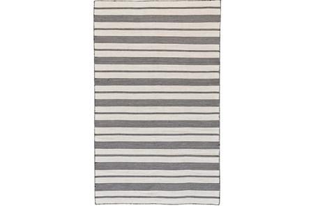 96X132 Rug-Recycled Pet Black Pin Stripes