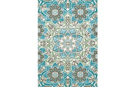 60X96 Rug-Aqua And Kiwi Large Medallion
