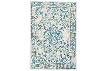 60X96 Rug-Aqua And Green Distressed Medallion