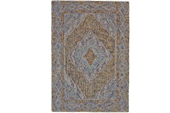 60X96 Rug-Indigo And Orange Acantha Medallion