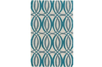 60X96 Rug-Peacock Blue Interlocking Circles